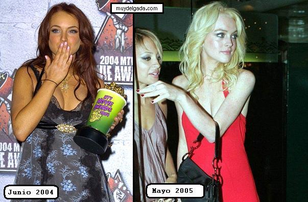Muy delgada .com | Lindsay Lohan anoréxica, sus cambios de