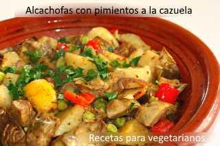 Alcachofas con pimientos a la cazuela